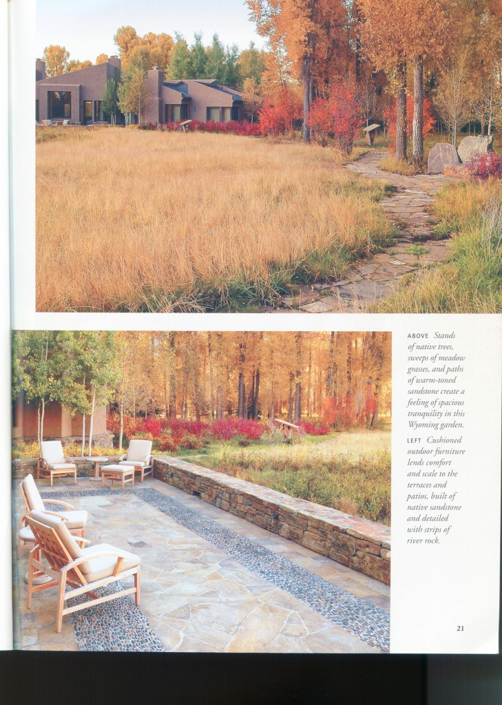 Idea for back back of lot. Nice home from Wyoming. I like the way they've blended the natural grasses into the natural landscape.